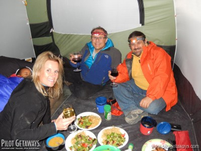 Dining in Ramona's tent