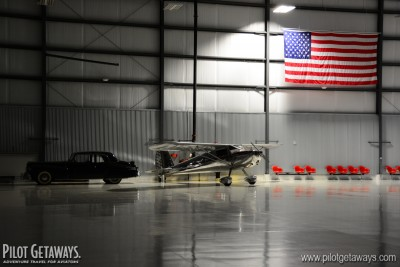 Cessna 120 in the hangar