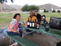 Several wine bottles on the picnic table